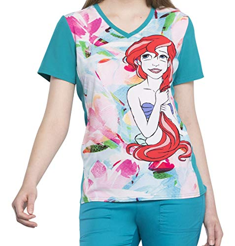 TF627 PRSH XS Cherokee Tooniforms Women's V-Neck Top Ariel Splash Disney Princess (Scrub Ariel Shirt)