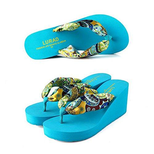 Pantoufles Color beauty Floral love Angel Blue 38 Épais Pantoufles 2 3 Size Flops Plage Bohème Sole Femmes EU Plate Forme Occasionnels Blue Flip Wedge qaY55wI