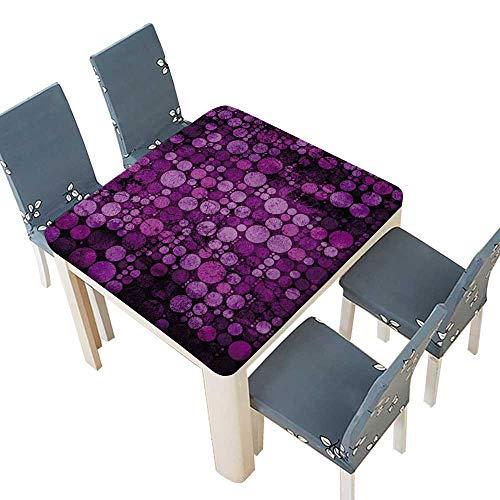 PINAFORE Printed Fabric Tablecloth Violet Papier texturé Transparent Polka dots modèle Wedding Restaurant Party Decoration 65 x 65 INCH (Elastic Edge) -