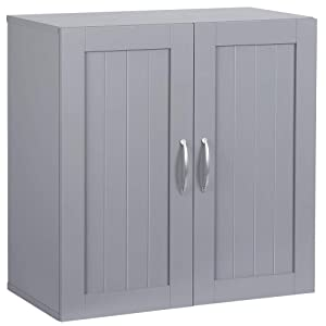 Topeakmart 2 Door Wall Cabinet, Wooden Storage Colletion with Inner Adjustable Shelf Cupboard Unit for Bathroom/Medicine/Kitchen/Laundry Dark Gray