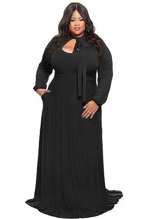 Lalagen Women's Vintage Long Sleeve Plus Size Evening Party Maxi ...