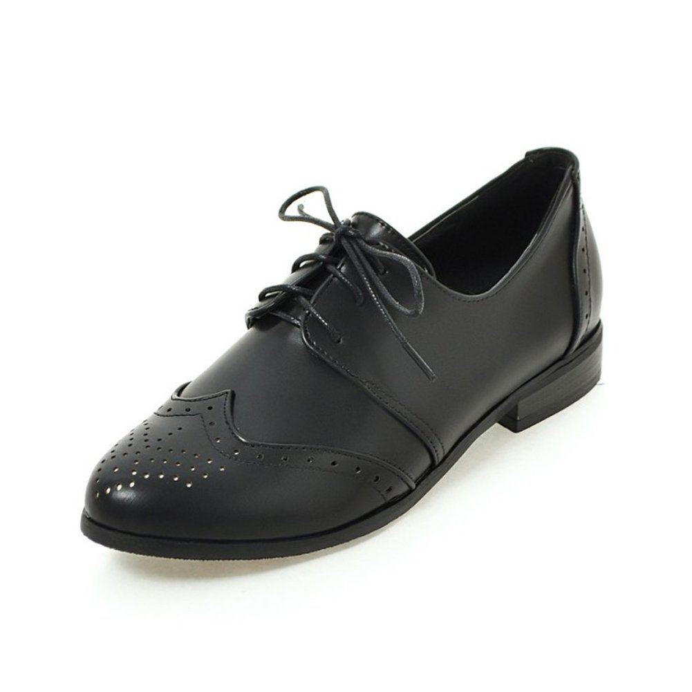 Cicime Women's Metallic Lace-up Wingtip Oxfords Vintage Black Oxford Shoes Rock Brogues