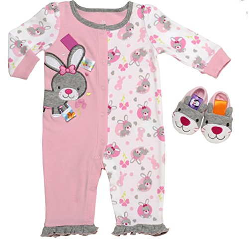Taggies Baby Girl So Hoppy Romper and Slippers (3m-12m) (9 months)