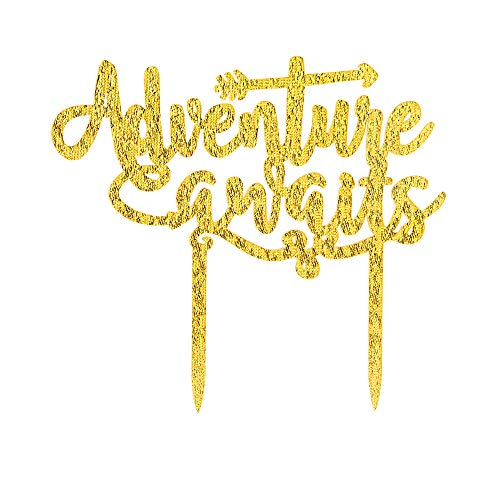 Adventure Awaits Cake Topper - Baby Shower/Travel Theme Party/Retirement Party/Graduation Party/Weeding Party Decorations (Gold) ()