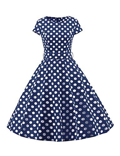 VKStar - Vestido - Noche - Lunares - Cuello Redondo - Manga Corta - para Mujer azul marino