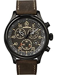 Men's T49905 Expedition Rugged Field Chronograph Black/Brown Leather Strap Watch