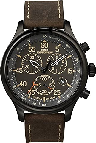Timex Men's T49905 Expedition Rugged Field Chronograph Black/Brown Leather Strap Watch - Timex Water Resistant Watch