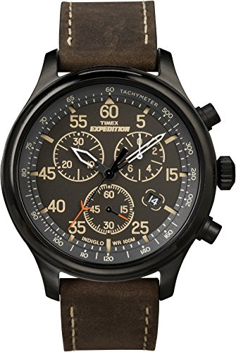 Timex Men's T49905 Expedition Rugged Field Chronograph Black/Brown Leather Strap Watch (Classic Field Black Dial)