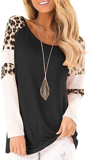 Womens Fashion Long Sleeve Blouse Gradient Print Splicing Tee Shirts Casual Tops