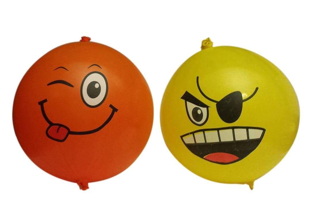 Good Things Inc Emoji Punch Balloons, Yellow and Orange, 4-pack (8 Balloons)