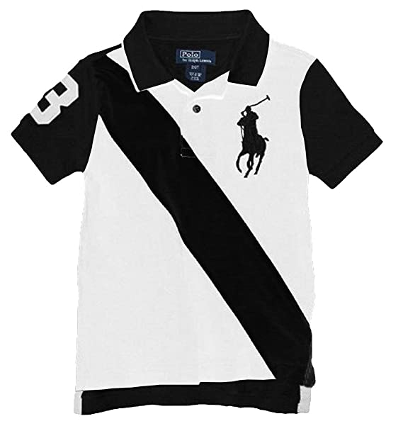 6b321dcff61ee Polo Ralph Lauren Boys Youth Big Pony Sash Stripe Polo Shirt White Black  (Small (