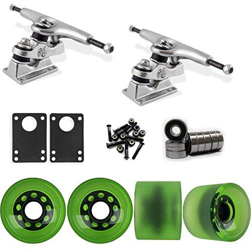 TGM Skateboards Gullwing Sidewinder Longboard Trucks Wheels Pack 70mm Sliding Wheels Green