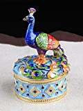 znewlook Peacock Jewelry Trinket Box Enamel Jeweled Trinket Box Peacock Crystal Jewelry Gift Box