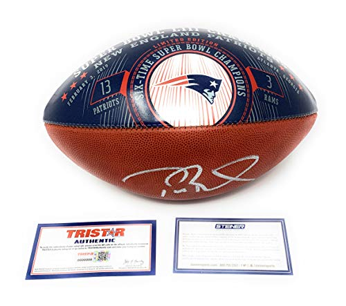 - Tom Brady New England Patriots Signed Autograph NFL Authentic Super Bowl LIII Blue Duke Football Limited Edition #13/53 MADE Steiner Sports Tristar Authentic Certified