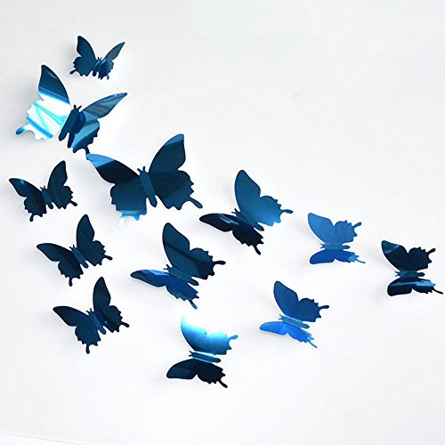 rs Decals 12PCS Butterfly Mirror Decoration Removable Wall Mural Decals for Kids Bedroom Living Room Nursery (Blue) ()