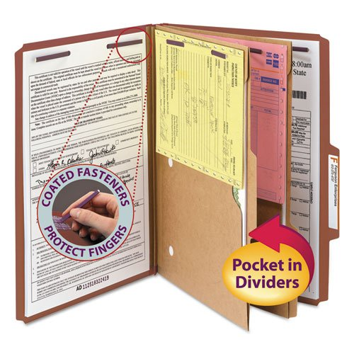 Smead Products - Smead - Pressboard Folders w/2 Pocket Dividers, Legal, 6-Section, Red, 10/Box - Sold As 1 Box - Feature 2