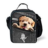 Coloranimal Loverly Animal Insulated Lunch Bags Lhasa Apso Dog Lunch Box for Student Girls Boys