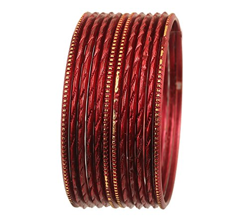 Touchstone Colorful Dozen Bangle Collection Superb Laser Cutting Textured Chocolate Brown Color Golden Glaze Slimline Indian Bollywood Designer Jewelry Metal Bangle Bracelets For Women. Set Of 12.