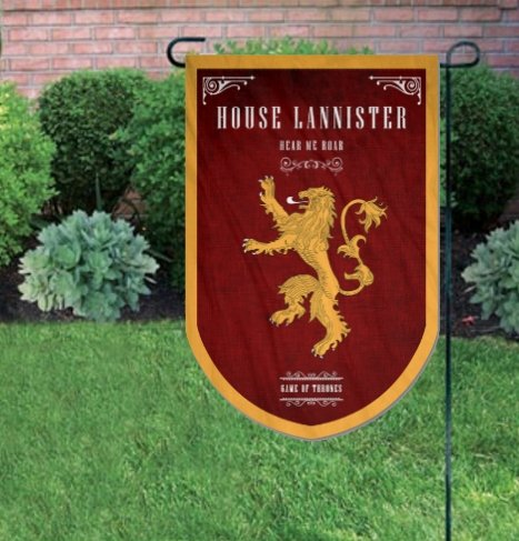 Game of Thrones Style Banner Printed on Both Sides Perfect Barware Man Cave Gift Unique GOT Collectible Accessory Durable Enough for Outside Conditions House Lannister HQ Flag 37x24in