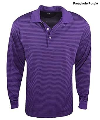New PGA Tour- Long Sleeve Ventilated Striped Polo Parachute Purple Size XXL