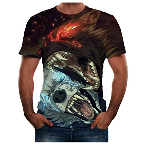 T Shirt 3D Animal Colorful Cool Printing Graphic Tee Shirts Summer New Full Plus Size Top Blouse for Men (XL,29- Green)