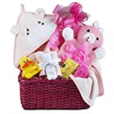 Newborn Baby Girl Bath Gift Basket with Hooded Towel, Washclothes, Organic Soap and Bath Thermometer