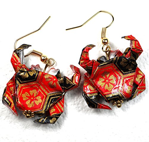 Handcrafted Origami Paper Crab Earrings, Red Black Gold Color, Zodiac Cancer Birthday Good Luck Gift ()