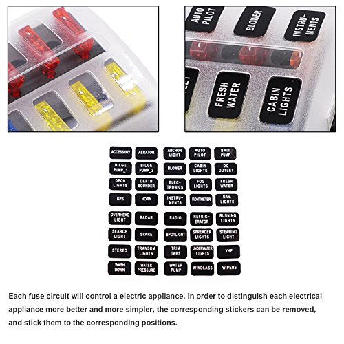 51q8eX55zOL amazon com fuse block,12 way blade fuse box holder with led waterproof fuse relay box facebook at soozxer.org