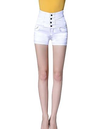 e51770621d Femmes Taille Haute Hot Short Jeans Denim Coton Short avec Stretch Fit et  Quatre Boutons jusqu