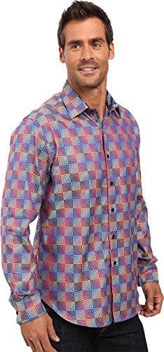 Robert Graham Men's Salt Pan Long Sleeve Button Down Shirt, Wine, Medium