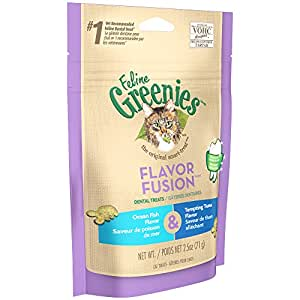 FELINE GREENIES FLAVOR FUSION Dental Cat Treats Ocean Fish and Tempting Tuna Flavors 2.5 oz.