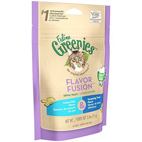 DISCONTINUED: FELINE GREENIES FLAVOR FUSION Dental Cat Treats Ocean Fish and Tempting Tuna Flavors 2.5 oz.