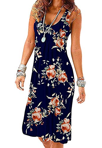 Akihoo Women Short Sleeve Round Neck Summer Casual Flared Midi Pleated Dress Navy Dress YH3-Flower Navy Rose M -