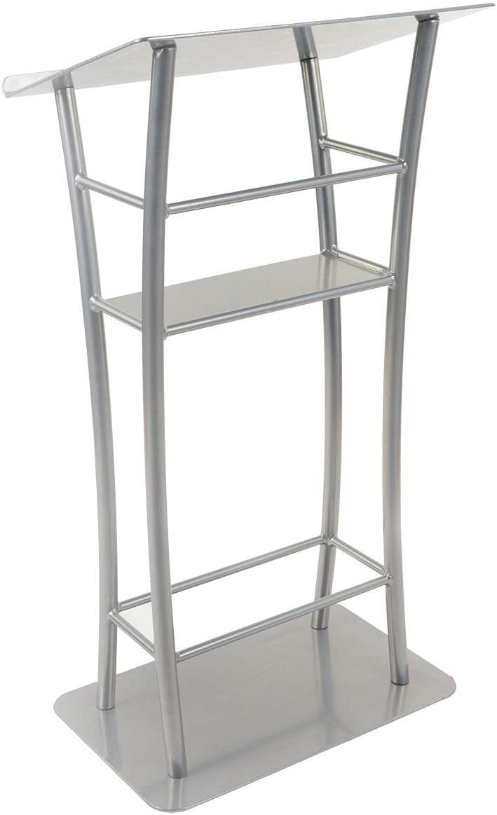 Displays2go LCTXCRVTWS 25 Curved Podium with Stationary Shelf, Floor Standing Fixture, Aluminum Steel Silver