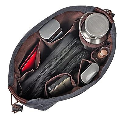 Vercord Canvas Handbag Organizers Sturdy Purse Insert Organizer Bag in Bag 13 Pockets 4 Colors 2 Sizes