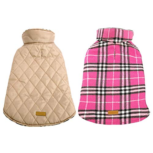 Kuoser Dog Coats Dog Jackets Waterproof Coats for Dogs Windproof Cold Weather Coats Small Medium Large Dog Clothes Reversible British Style Plaid Dog Sweaters Pets Apparel Winter Vest for Dog Pink M (Sweater Jacket Collar)