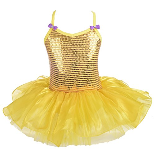 Dressy Daisy Girls' Glitter Sequins Ballet Tutu Dance Costume Fairy Fancy Dress Up Size 5-6 (Daisy Ballet Tutu)