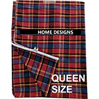 Home Designs Cotton Mattress Covers for Queen Size Double Bed with Zip/Chain(Multicolor)
