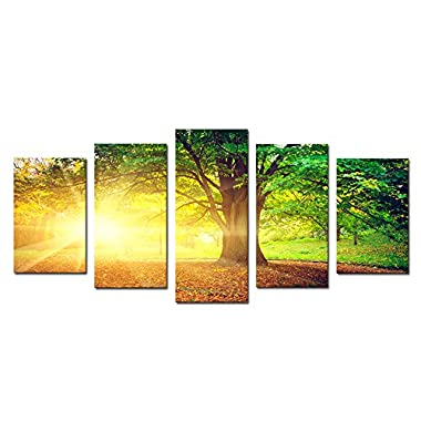 Cao Gen Decor Art-AH40129 5 panels Framed Wall Art Trees Painting on Canvas