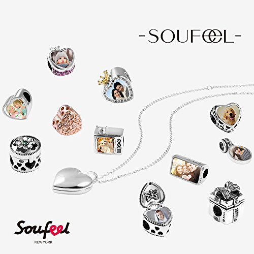 SOUFEEL 925 Sterling Silver Charms Engraved Personalized Photo Charm Pendant for Bracelets and Necklaces