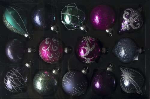 Christmas Ornaments 14 Piece Set Hand Decorated Glass - Decorated Glass Ball Ornaments