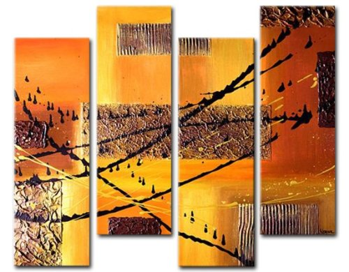 Sangu 100% Hand Painted Wood Framed Smooth Metal Abstract Home Decoration Modern Oil Paintings Gift on Canvas 4-piece Art Wall Decor