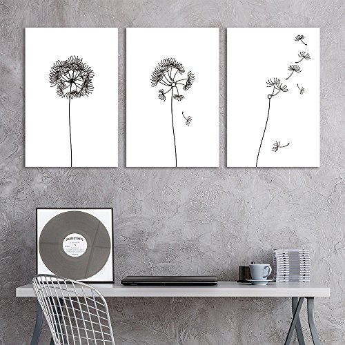 3 Panel Hand Drawn Dandelions in Black and White Wall Decor x 3