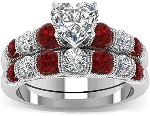 Xahh Women 2 Pcs White Gold Heart Red Cz Halo Engagement Wedding