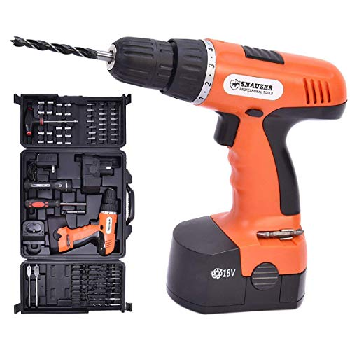 Goplus 18V Cordless Drill Driver Set with 78-Piece, 16 Position Keyless Torque Clutch, Variable Speed Construction Work Screwdriver with Professional Case, Max 3/8-Inch