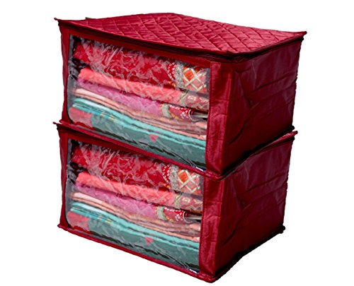 Kuber Industries™ Saree Cover Extra Large Size in Maroon Quilted Satin Set of 2 Pcs