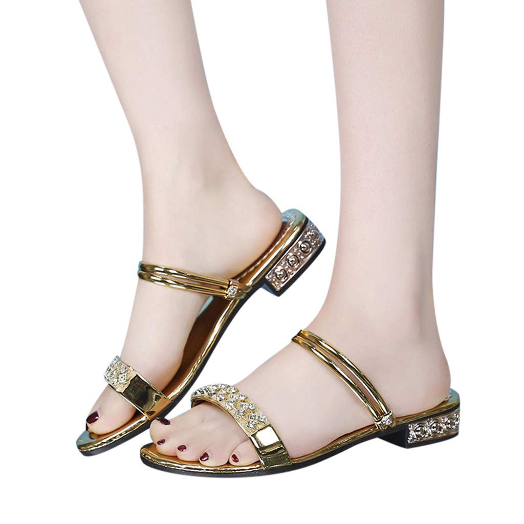 Duseedik Women's Slippers Summer Rhinestone Sandals Crystal Flat Beach Roman Shoes Bohemia Outdoor Shoes Gold