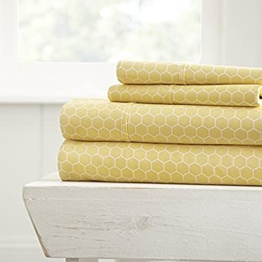 ienjoy Home 4 Piece Sheet Set Honeycomb Patterned, King, Yellow