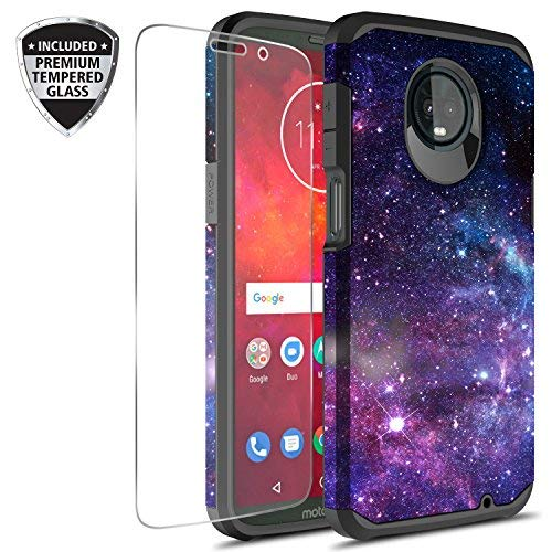 buy popular a2f06 3b5ee Amazon.com: Moto Z3 Play Case Tempered Glass Screen Protector ...