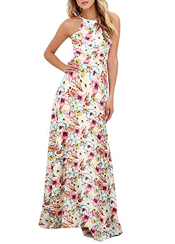 Romacci Women's Sleeveless Halter Neck Maxi Dress Vintage Floral Print Backless Beach Long Dresses S-5XL,Blue/Black (M, White)